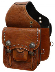 Showman ® Tooled leather saddle bag with engraved brushed nickel hardware.