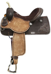 "15"",16""  Showman™ Argentina Cow Leather Barrel Style Saddle with Square Tooling"