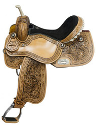 "14"", 15"", 16"" Fully Tooled Double T Barrel Saddle with Black Inlay"