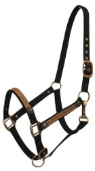Black 2 ply Nylon Halter with Leather Overlay and Copper Hardware