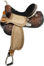 "14"", 15"",16"" Double T Barrel Style Saddle with Barrel Racer Conchos.*Full QH Bars*"