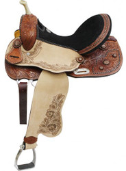 "14"", 15"", 16"" Double T Barrel Style Saddle with Copper Colored Startburst Conchos. * Full QH Bars*"