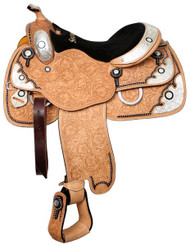 """16"""" Showman™ Floral Tooled Show Saddle With Black Inlay"""