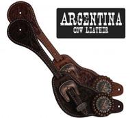 Showman® Men's Size Argentina Cow Leather Star Concho Spur Straps