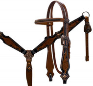 Showman ® Double stitched medium leather headstall and breast collar set with brushed copper accents.
