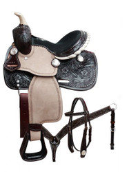 "10"" Double T pony saddle set with engraved silver conchos. This"