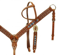 Showman ® Single ear headstall and breast collar set with beaded inlays.