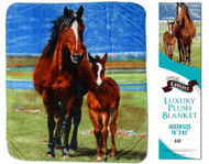 """Showman Couture ™ Luxury plush blanket with mare and foal print. Queen Size 76"""" x 93""""."""