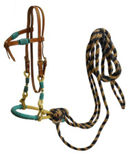 Showman ® leather futurity knot headstall with teal rawhide braided bosal and horse hair mecate reins.