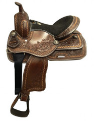 """13"""" Double T  Youth/Pony saddle with floral tooling."""