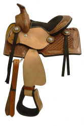 "8"" pony saddle with a tooled feather design."