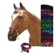 Showman® Braided nylon rope noseband and nylon tie down.