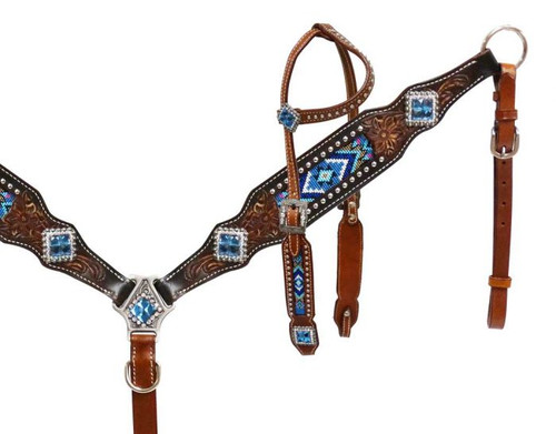 Showman 174 Headstall And Breast Collar With Beaded Inlay