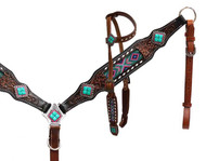 Showman® Headstall and breast collar with beaded inlay..