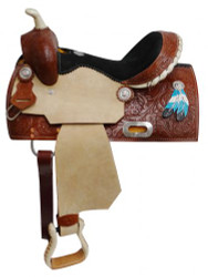 """13"""" Double T  Youth saddle with painted feather accents."""