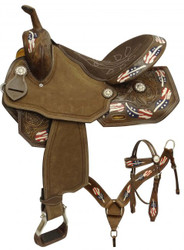 """15"""", 16"""" Double T style barrel saddle set with red, white and blue painted feathers."""