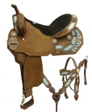 "14"", 15"", 16"" Double T style barrel saddle set with metallic painted feathers and beaded inlay"