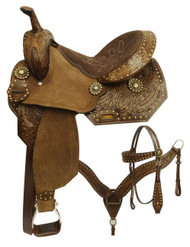 "14"", 15"",  Economy style barrel saddle set with feather tooled design."