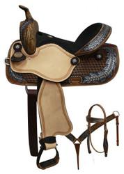 "14"", 15"" Double T  barrel style saddle with oak leaf tooled design."