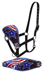 Showman ® FULL SIZE Leather bronc halter with painted American flag design.