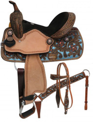 "14"", 15"", Double T  barrel style saddle set with metallic painted tooling."