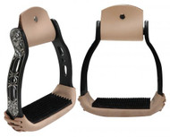 Showman ® Light weight black aluminum stirrups with engraved and cut out design.