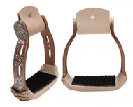 Showman ® Light weight copper colored aluminum stirrups with engraved and cut out design.