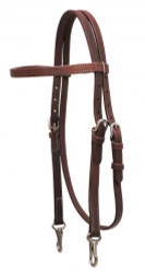Showman ® Oiled harness leather headstall with stainless steel snaps.