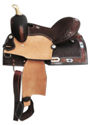 """13"""" Double T Pony/Youth saddle with beaded inlay."""