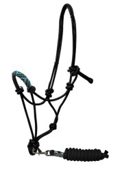 Showman ® Beaded nose cowboy knot rope halter with 7' lead