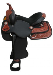 """13"""" Synthetic pony/ youth saddle with leather trim accents."""