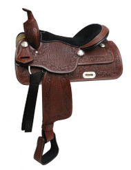 "16"" Economy style western saddle with basket tooling."