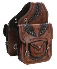 Showman ® Tooled leather saddle bag..