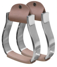 Showman ® Pony/Youth polished aluminum stirrup with light leather tread.