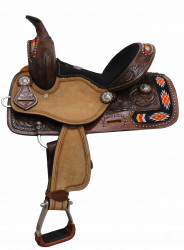 "12"" Double T Youth/Pony embroidered Navajo saddle."
