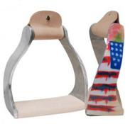 Showman ® Lightweight twisted angled aluminum stirrups with painted distressed American flag design.