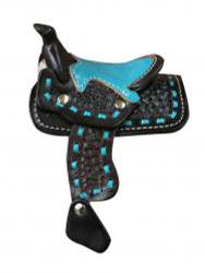 "6.5"" tall x 4.75"" wide. Basket tooled decorative saddle with teal seat."