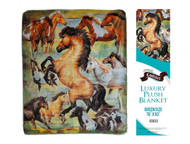 """Showman Couture ™ Luxury plush blanket with rearing horse print. Queen Size 76"""" x 93""""."""