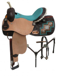 "14"", 15"", 16"" Double T Bejeweled metallic leopard print barrel style saddle set."
