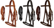 Pony Size English headstall with raised browband and braided leather reins.
