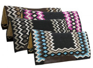 "Showman® 34"" x 36"" Contoured cutter style wool top saddle pad with diamond pattern."