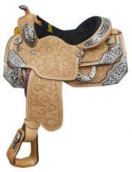 """16"""" Showman ® Argentina cow leather show saddle with floral tooling and black inlay trim with silver accents."""