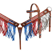 Showman® Painted American Flag headstall and breast collar set with fringe.