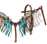 Showman® Painted cross headstall and breast collar set with metallic fringe.