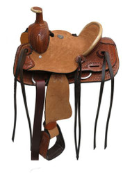 "10"" Double T  Youth hard seat roper style saddle."