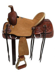 """13"""" Double T Youth hard seat roper style saddle with basket weave and Navajo diamond tooled leather."""