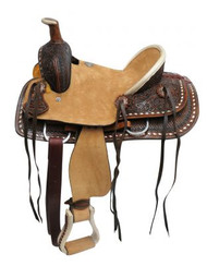 "12"" Double T Youth hard seat roper style saddle with basket and floral tooled leather."