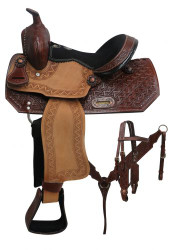"12"" Double T Youth barrel style saddle set with zigzag tooling."