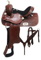 "12"" Double T Youth barrel style saddle set with zigzag and basket weave tooling."