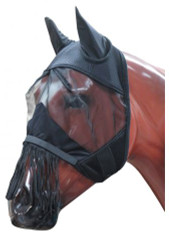 Showman ® Jersey mesh fly mask with lycra ears and removable fringe nose.